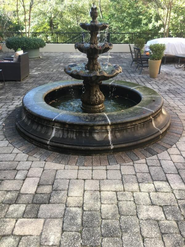 pressure washing fountain in atlanta before